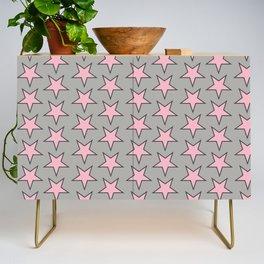 Stars pattern pink on grey Credenza