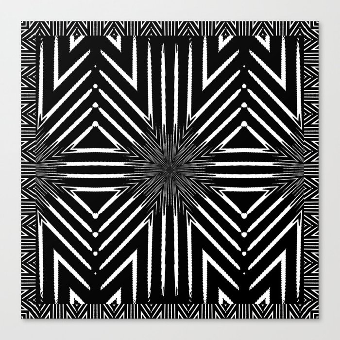 Tribal Black and White African-Inspired Pattern Canvas Print