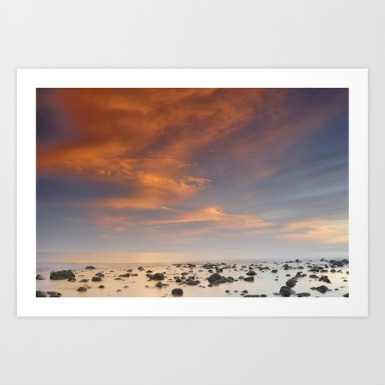 Red sunset over the rocks at the sea Art Print