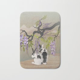 Two Rabbits Under Wisteria Tree Bath Mat