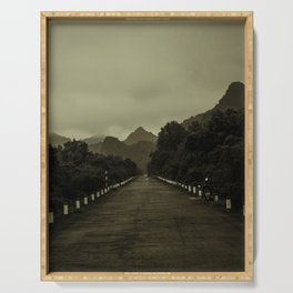 Road into the Mountains in Sepia. Vintage Travel Photography. Serving Tray