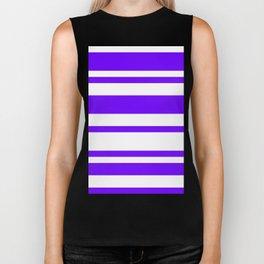 Mixed Horizontal Stripes - White and Indigo Violet Biker Tank
