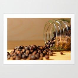 Pepper beans spilled from jar Art Print
