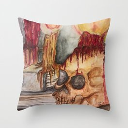 Gothic Library Throw Pillow