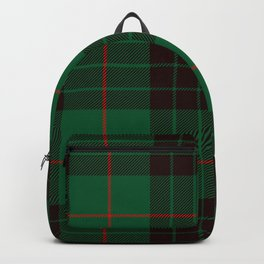 Dark Green Tartan with Black and Red Stripes Backpack