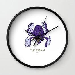 T.F TRAN PURPLE LEOPARD IRIS Wall Clock
