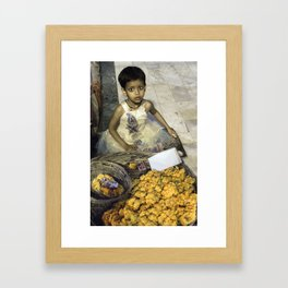 Varanasi little girl Framed Art Print