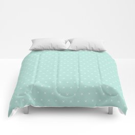 Aqua blue and White cross sign pattern Comforters