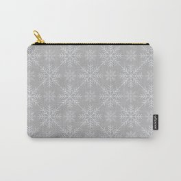 Snowflakes on Gray Carry-All Pouch
