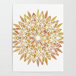 Mandala Desert Copper Gold Poster