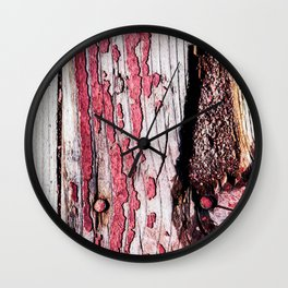 Old Broken Wooden Planks, Nails, Knots And Chipped Off Red Paint Wall Clock