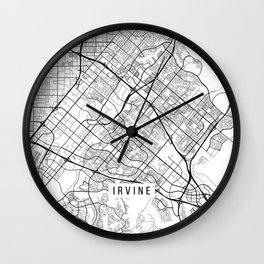 Irvine Map, USA - Black and White Wall Clock