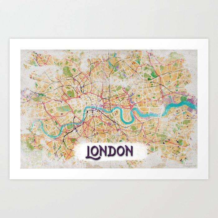 Watercolor Map of London Art Print