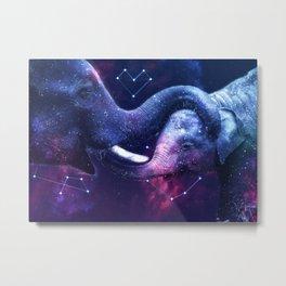Galaxy Elephant Mom Love Metal Print