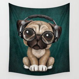 Cute Pug Puppy Dj Wearing Headphones and Glasses on Blue Wall Tapestry