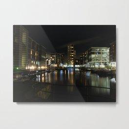 Leeds Dock at Night Metal Print