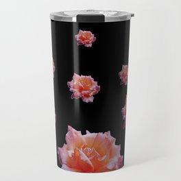 ROMANTIC ANTIQUE PINK ROSES ON BLACK Travel Mug