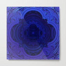 Cobalt Blue Faux Lace Filigree Metal Print