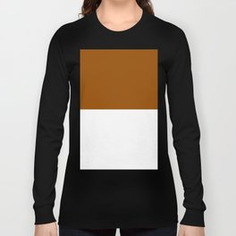 White and Brown Horizontal Halves Long Sleeve T-shirt