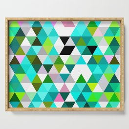 Chic Bright Pink Turquoise Lime Green Colors Funky Retro Triangles Mosaic Pattern Serving Tray