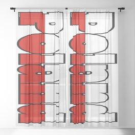 Poland Font with Polish Flag Sheer Curtain