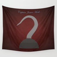 hook Wall Tapestries featuring Captain James Hook | Villains do It Better by Gabriele Omar Lakhal