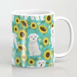 Maltese dog breed floral sunflower summer pattern dog gifts pet friendly dogs Coffee Mug