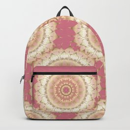 Delicate Gold Rose Mandala on Rose Pink Backpack