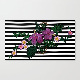 Tropical embroidery floral Canvas Print