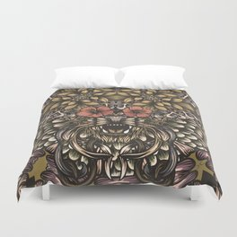 Tiger and flowers Duvet Cover