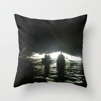 vietnam Throw Pillows featuring Vietnam Cave by Lili Lash-Rosenberg