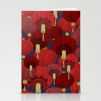 chinese Stationery Cards featuring Chinese Lanterns by Deborah Panesar Illustration