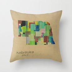 nebraska state map Throw Pillow
