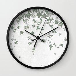 Gray Green Trailing Ivy Leaf Print Wall Clock