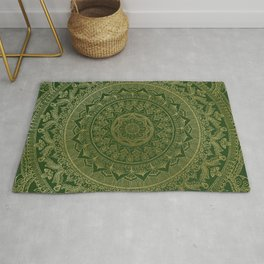 Mandala Royal - Green and Gold Rug