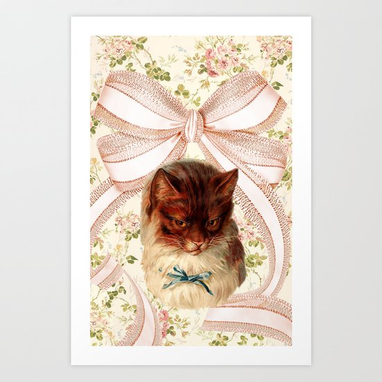 Vintage Floral Cat and Giant Bow Art Print