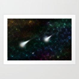 Galaxy Shooting Stars Art Print
