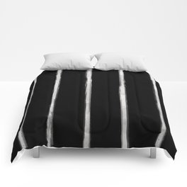 Skinny Strokes Gapped Vertical Off White on Black Comforters