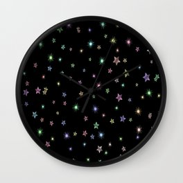 Colored Sparkling Stars Wall Clock