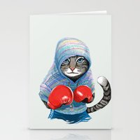 boxing Stationery Cards featuring Boxing Cat by Tummeow