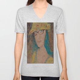 Encaustic painting of Elise by Karen Chapman Unisex V-Neck