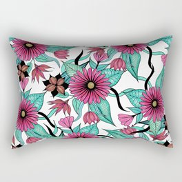 Girly Pink and Teal Watercolor Floral Illustration Rectangular Pillow