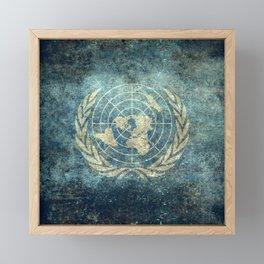 United Nations Flag - Vintage version Framed Mini Art Print