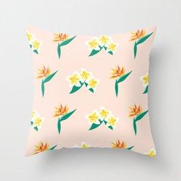 Frangipanis and Bird of Paradise Flowers Throw Pillow