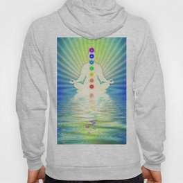 In Meditation With Chakras - Blue Ocean Hoody