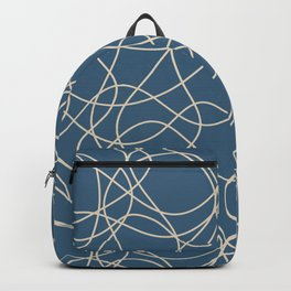 Beige Scribbled Lines Abstract Hand Drawn Mosaic on Blue - 2020 Color Of The Year Chinese Porcelain Backpack