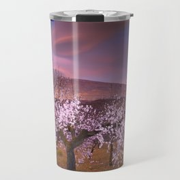 Lenticular clouds over Almond trees Travel Mug