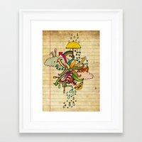 cthulu Framed Art Prints featuring Notebook World by Duru Eksioglu