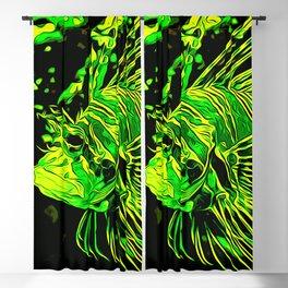 lionfish vector art green Blackout Curtain
