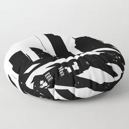 City Scape in Black and White Floor Pillow